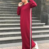 Casual Fashion Loose Strip Long Sleeve Maxi Dress claret_red m
