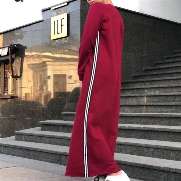 Casual Fashion Loose Strip Long Sleeve Maxi Dress claret_red l