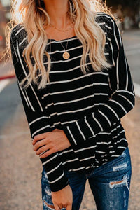 Round Neck  Striped  Batwing Sleeve T-Shirts gray l