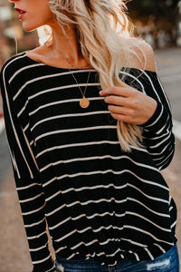Round Neck  Striped  Batwing Sleeve T-Shirts black s