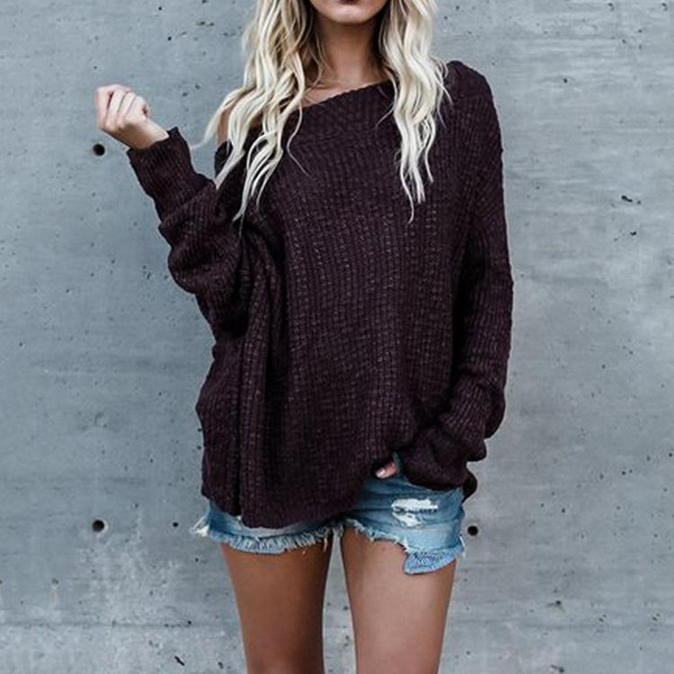 Loose Shoulder-Length Knitted Sweater claret 4xl