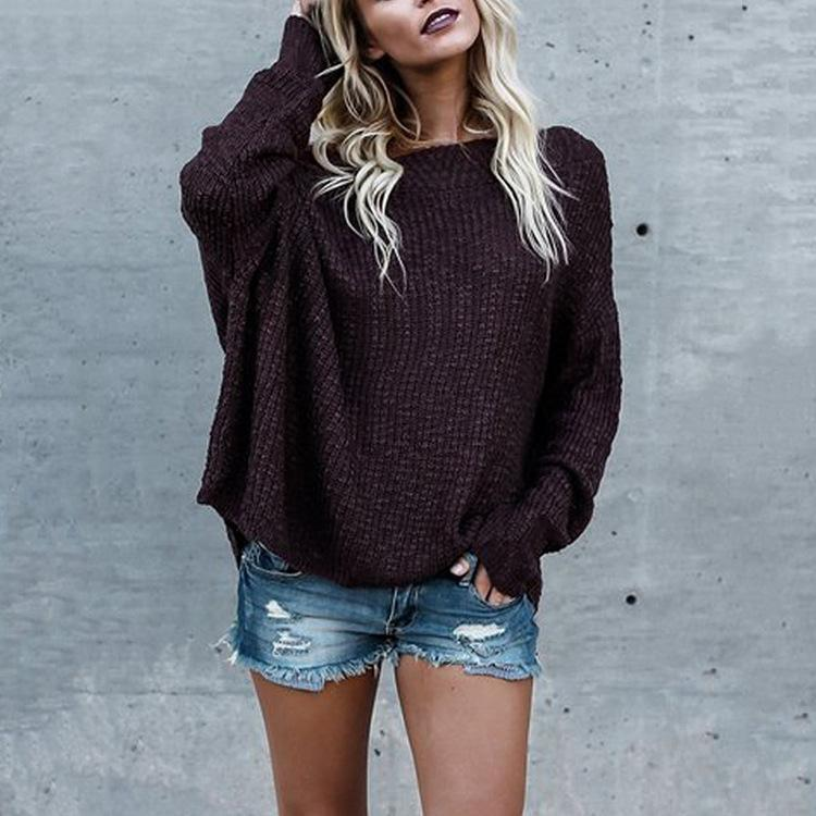 Loose Shoulder-Length Knitted Sweater claret 3xl