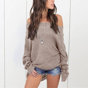 Loose Shoulder-Length Knitted Sweater dark_grey 5xl