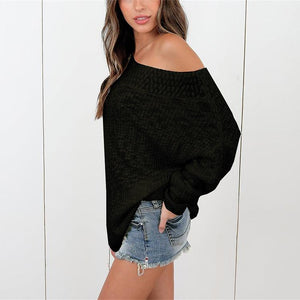 Loose Shoulder-Length Knitted Sweater black l