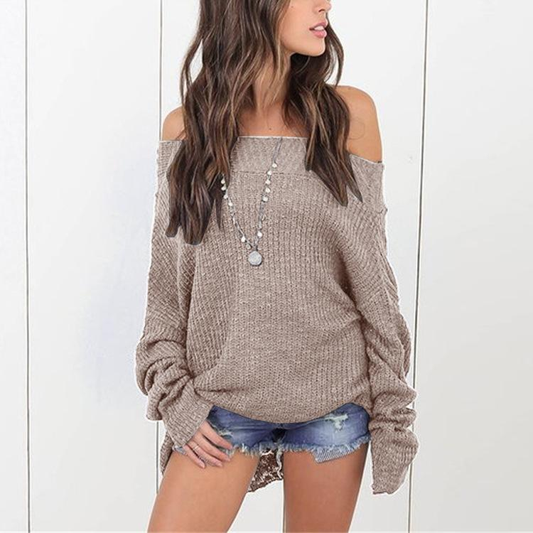 Loose Shoulder-Length Knitted Sweater black xl