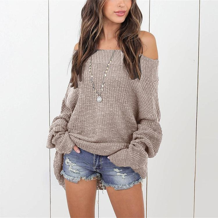 Loose Shoulder-Length Knitted Sweater claret m