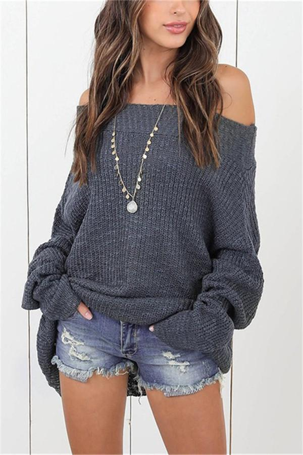 Loose Shoulder-Length Knitted Sweater dark_grey s