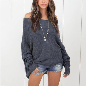 Loose Shoulder-Length Knitted Sweater black s