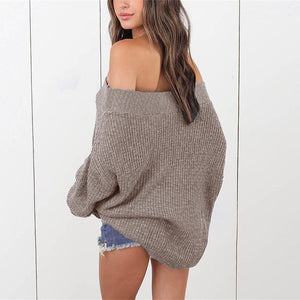Loose Shoulder-Length Knitted Sweater claret s