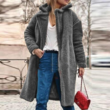Fashion Lapel Long Sleeve Plain Button Casual Fur Coats