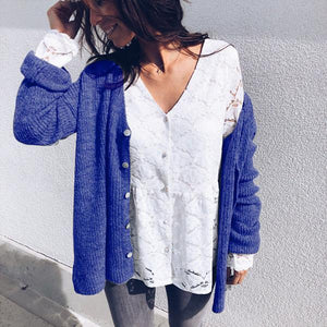 Sexy V-Neck Button Comfort   Cardigan blue l