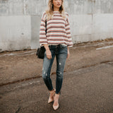 Nifty Casual Fashion Loose Strip Long Sleeve Sweater same_as_photo m