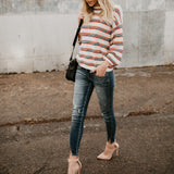 Nifty Casual Fashion Loose Strip Long Sleeve Sweater same_as_photo xl