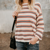 Nifty Casual Fashion Loose Strip Long Sleeve Sweater same_as_photo l