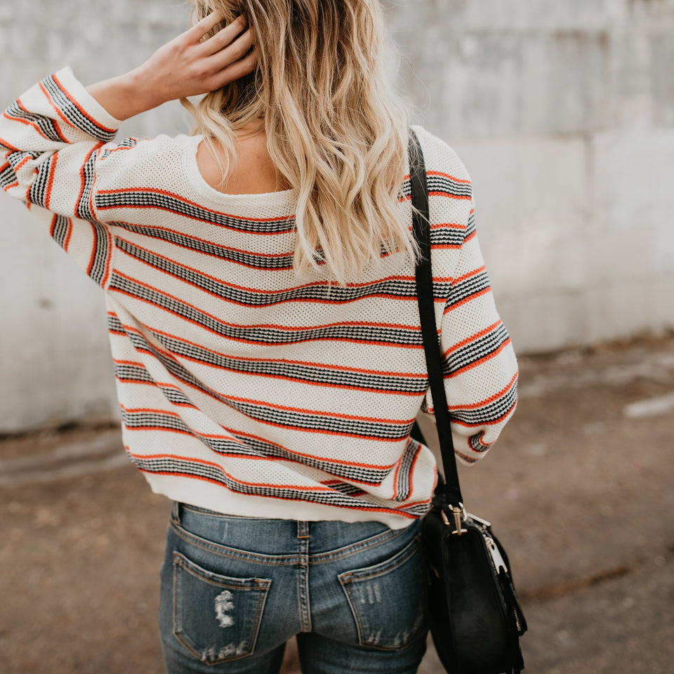 Nifty Casual Fashion Loose Strip Long Sleeve Sweater