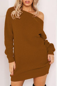 Sexy Revealing Shoulder Bag Buttock Long Sleeve Sweater Dress brown s