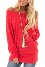 Open Shoulder Plain Sweatshirts