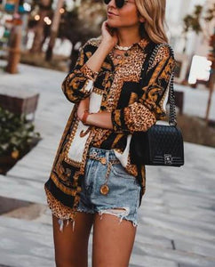Fashion Leopard Print Long-Sleeved Shirt Same As Photo 3xl
