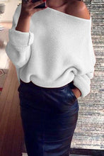 One - Word Neck Pure Color Sweater Knitted Sweater