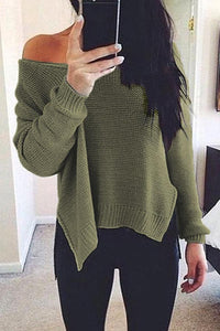 Prue Color V-Neck Halter Long Sleeve Knit Sweater dark_grey xl