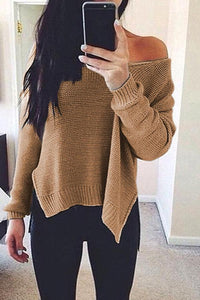 Prue Color V-Neck Halter Long Sleeve Knit Sweater khaki s