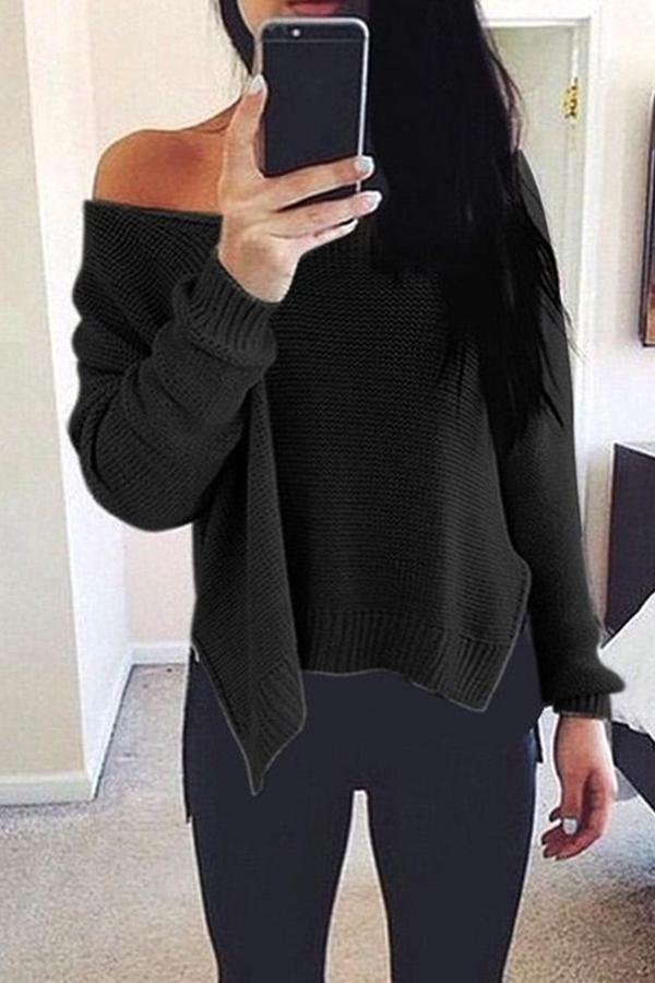 Prue Color V-Neck Halter Long Sleeve Knit Sweater khaki l