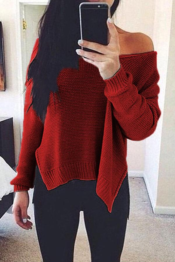 Prue Color V-Neck Halter Long Sleeve Knit Sweater black xl