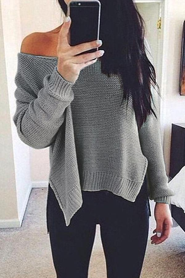 Prue Color V-Neck Halter Long Sleeve Knit Sweater black m