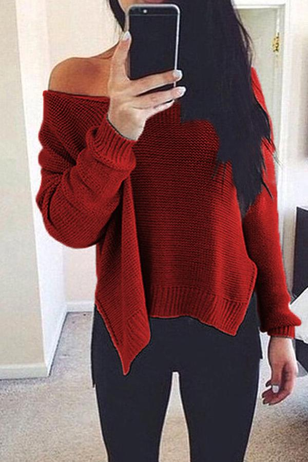 Prue Color V-Neck Halter Long Sleeve Knit Sweater black l