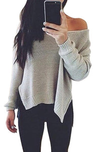 Prue Color V-Neck Halter Long Sleeve Knit Sweater dark_grey s