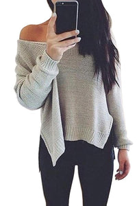 Prue Color V-Neck Halter Long Sleeve Knit Sweater dark_grey m