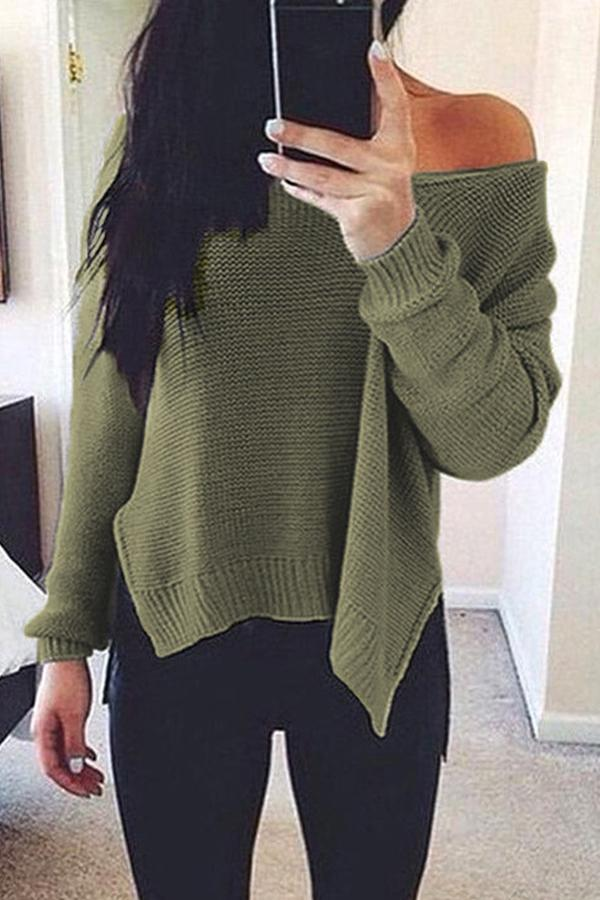 Prue Color V-Neck Halter Long Sleeve Knit Sweater dark_grey l