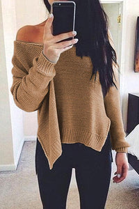 Prue Color V-Neck Halter Long Sleeve Knit Sweater khaki m