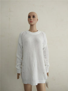 Loose Show Thin Round Neck Cover   Head Hollow Sweater rose m