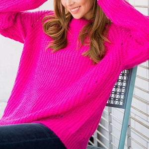 Loose Show Thin Round Neck Cover   Head Hollow Sweater rose xl
