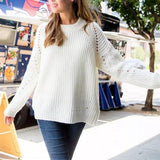 Loose Show Thin Round Neck Cover   Head Hollow Sweater white m