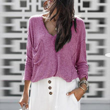 Pure Color V-Neck Knit Sweater