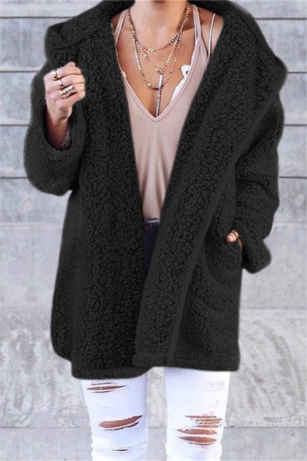 Winter Pure Color Fashion Warm Coat black s
