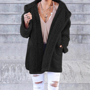 Winter Pure Color Fashion Warm Coat black m