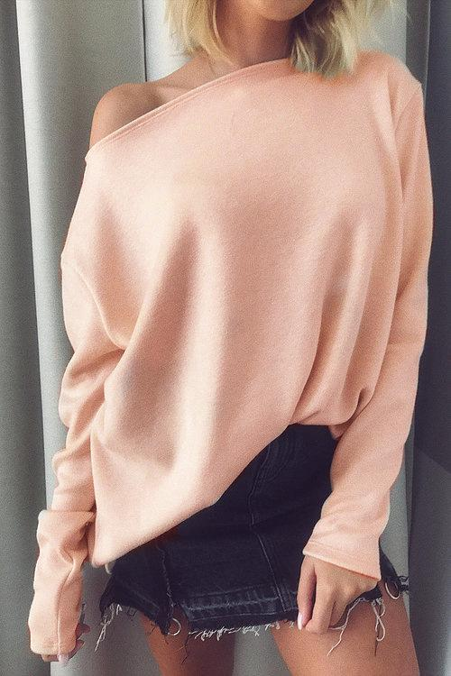 Winter Pure Color Fashion Warm Top pink l