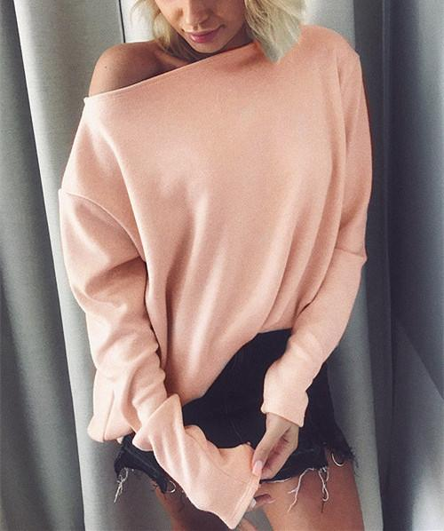 Winter Pure Color Fashion Warm Top pink m