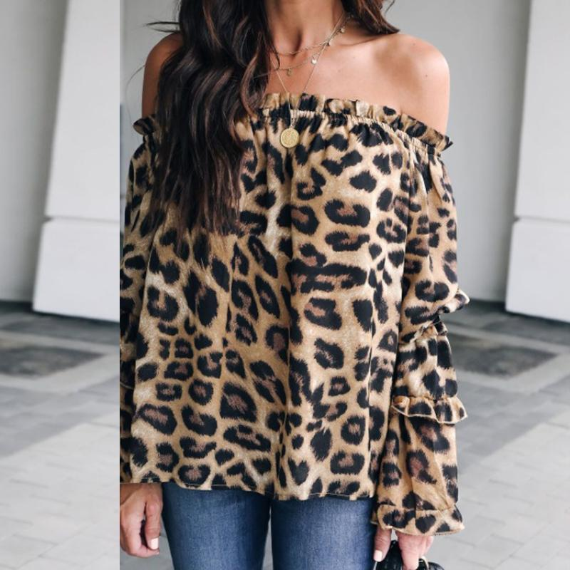 Leopard Printed Off Shoulder Flare Long Sleeve Sexy Blouses Brown Leopard Print l