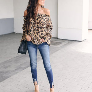 Leopard Printed Off Shoulder Flare Long Sleeve Sexy Blouses Brown Leopard Print 2xl