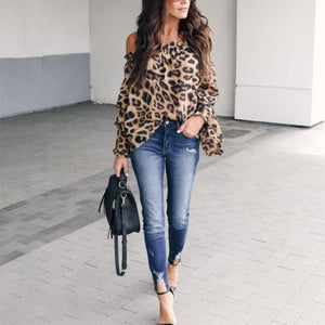 Leopard Printed Off Shoulder Flare Long Sleeve Sexy Blouses Brown Leopard Print xl