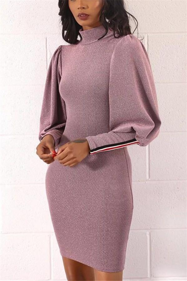 Fashion Lantern Sleeves And Hips Dress pink s