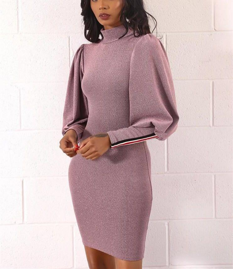 Fashion Lantern Sleeves And Hips Dress pink m