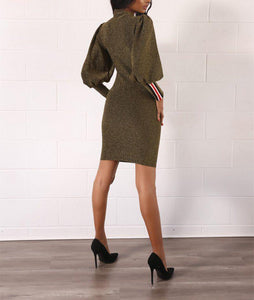 Fashion Lantern Sleeves And Hips Dress army_green s