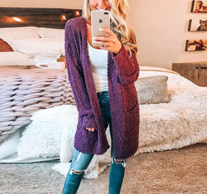 Fashion Warm Long-Sleeved Cardigan Jacket red l