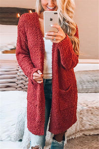 Fashion Warm Long-Sleeved Cardigan Jacket red s