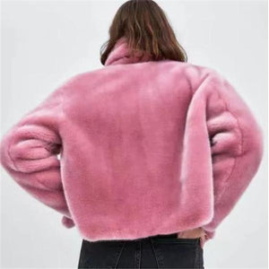 Sweet Fashion Casual Loose Thermal Long Sleeve Cardigan Pink m